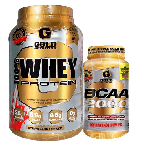 WHEY PROTEIN 2 Lbs + BCAA 2000 120 Caps - GOLD NUTRITION