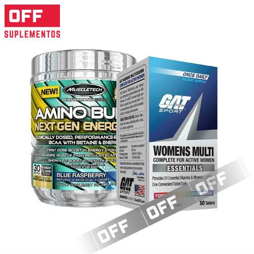 AMINO BUILD NEXT GEN 30SV + ESSENTIALS WOMENS MULTI 30 TABLETS + TOALLA ENTRENAMIENTO DE REGALO