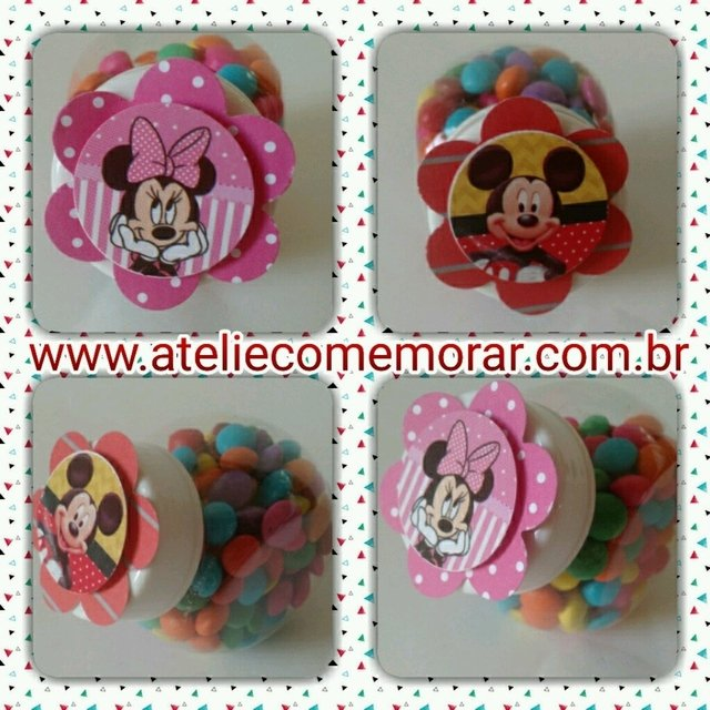 Mini baleiro Mickey ou Minnie com confeitos de chocolate