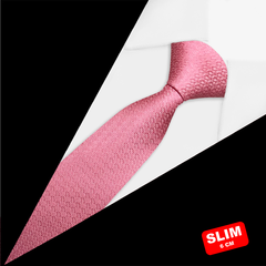 Gravata Super Slim Jacquard Rosa - xhp9Mr9