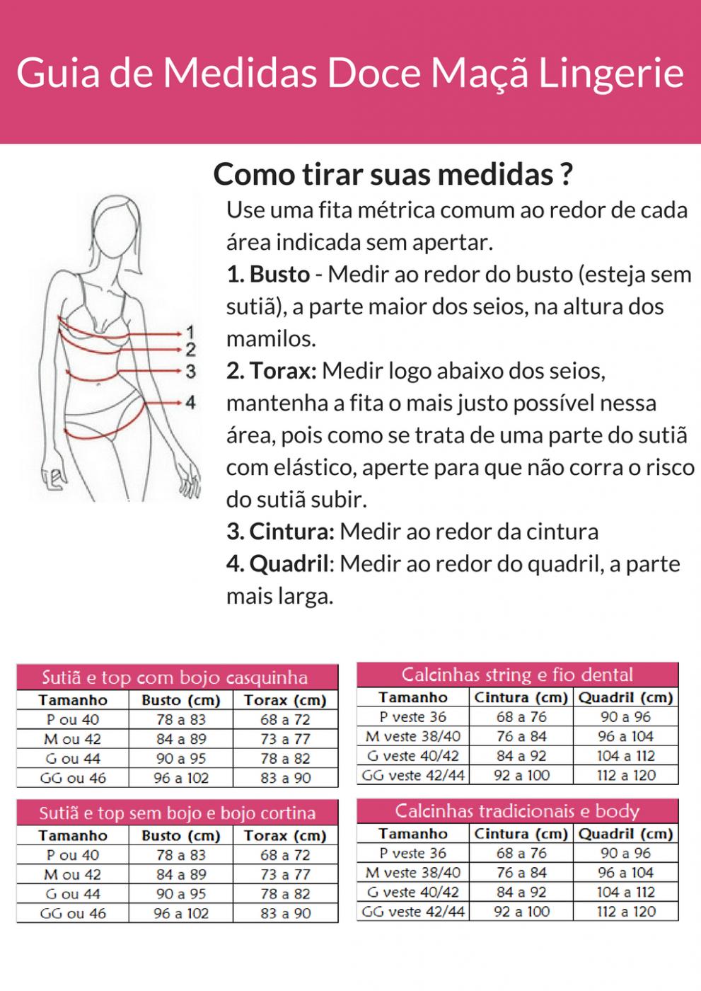 fe05e80a6 Loja online de Doce maçã lingerie - Tabela de Medidas