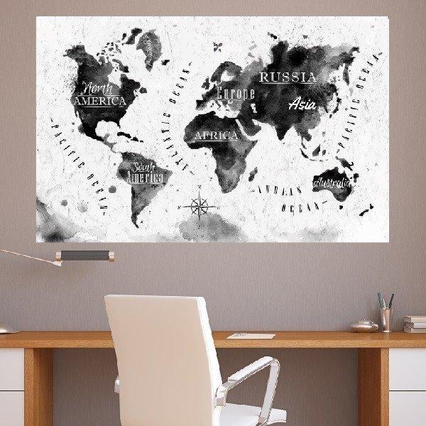 Adesivo De Parede Mapa Mundi Preto E Branco