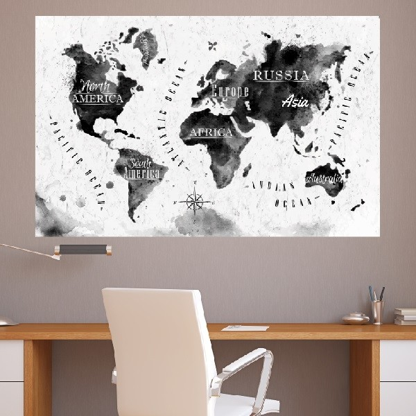 Adesivo De Francesinha Onde Comprar ~ Adesivo de Parede Mapa Mundi Preto e Branco