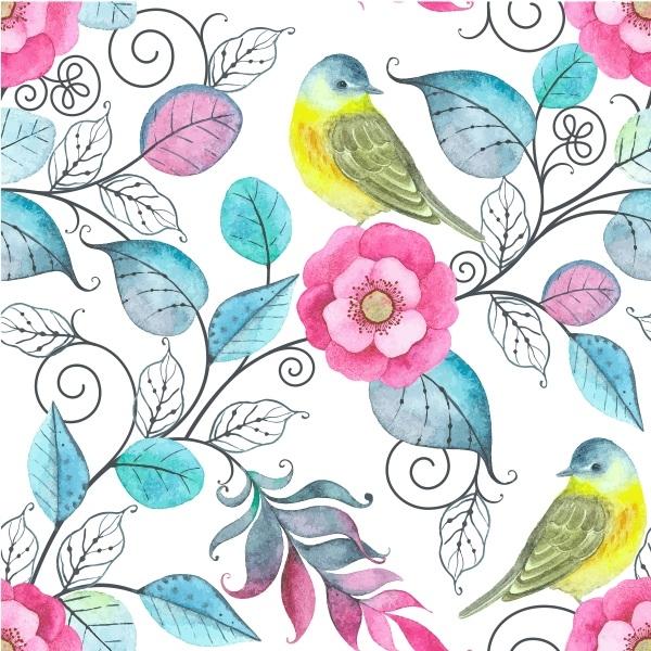 Aparador Em Mdf ~ Papel de Parede Adesivo Flores com Pássaros
