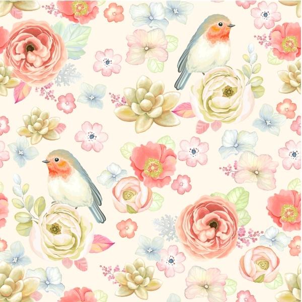 Aparador Em Mdf ~ Papel de Parede Adesivo Pássaros e Flores Delicadas