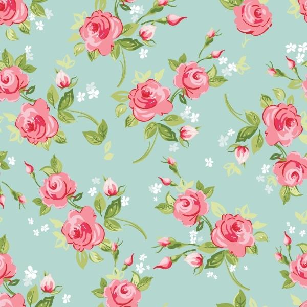Papel de parede adesivo rosas fundo turquesa for Papel pared turquesa