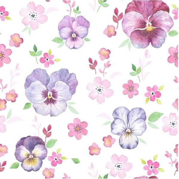 Aparador Em Mdf ~ Papel de Parede Adesivo Flores Delicadas