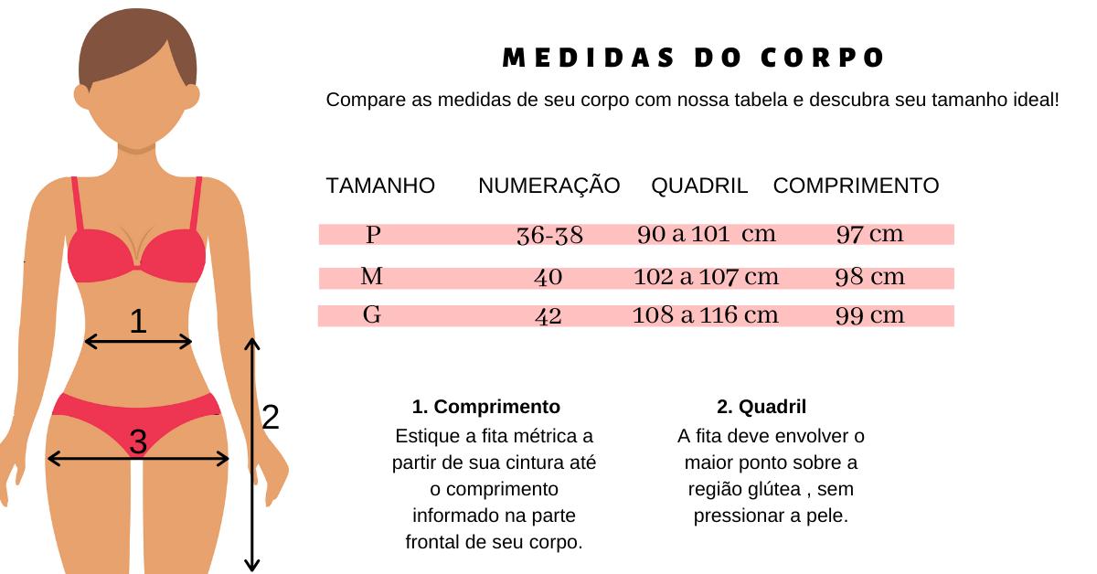 Calça malha de crepe flare Tabela de Medidas