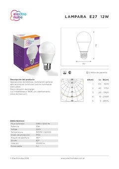 Lámpara LED bulbo 12W E27 en internet
