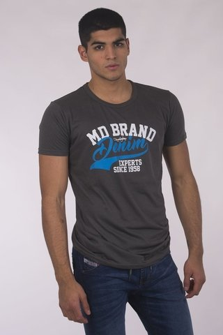 REMERA CUELLO/0  BITONO MD58  BRAND DENIM