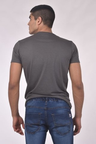 REMERA CUELLO/0  BITONO MD58  BRAND DENIM - md58