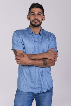 CAMISA M/C SOFT DENIM INDIGO KNIT en internet