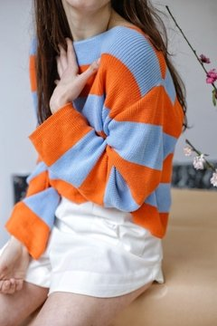 Sweater HILO BLUE ORANGE - tienda online