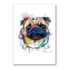 Quadro Decorativo Pug Aquarela