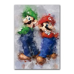 Quadro Decorativo Mario e Luigi Aquarela