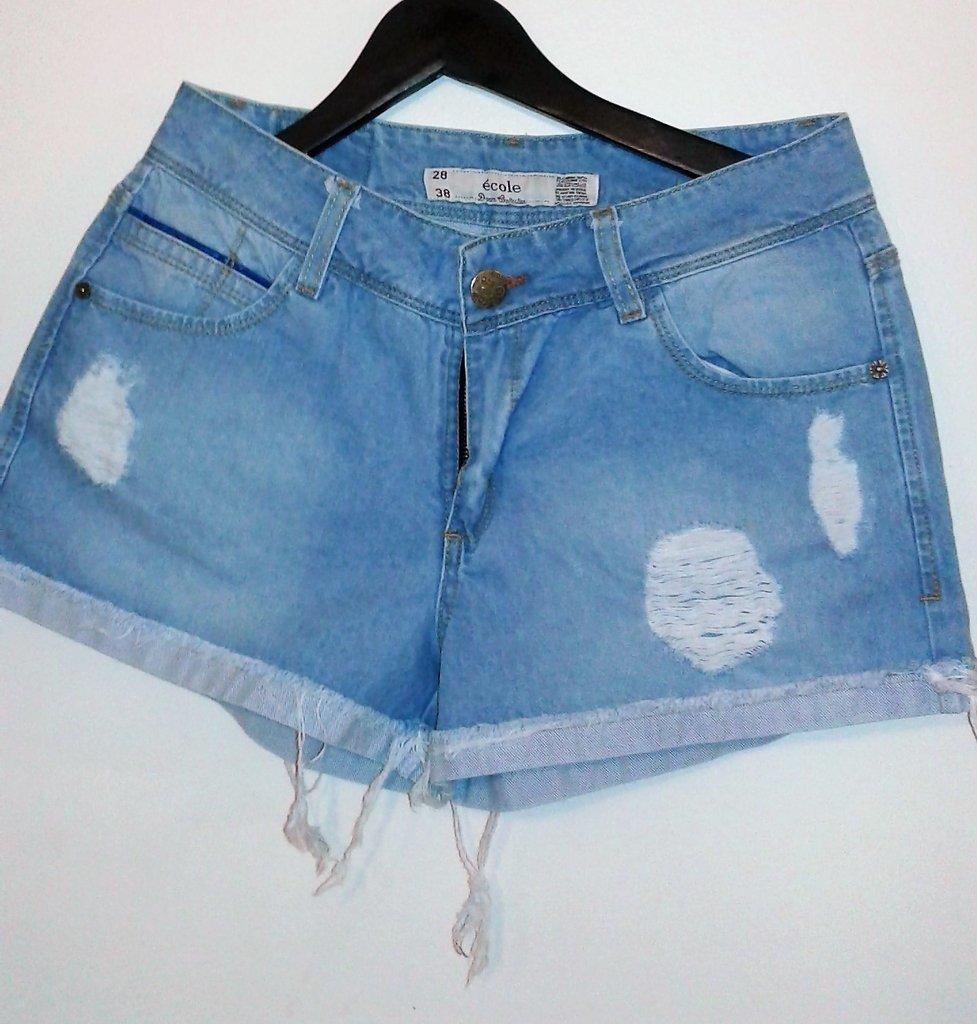 Short De Mujer De Jean Roto Azul Claro En Cordoba Vende