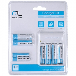 Charger Kit com 8 Pilhas Multilaser CB093