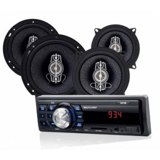 Kit Som Automotivo Multilaser Mp3 One USB + 2 Pares Alto-Fal