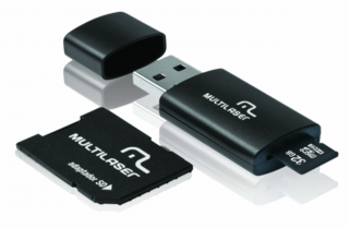 Multilaser Pen Drive 3 em 1 USB MicroSD Card c/ Adaptador SD