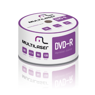 DVD-R Multilaser imprimível 4.7GB 8x Shrink c/ 50 unid DV052