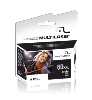 Cartucho Jato Compativel P/hp Mod 60 Preto Multilaser - Co60