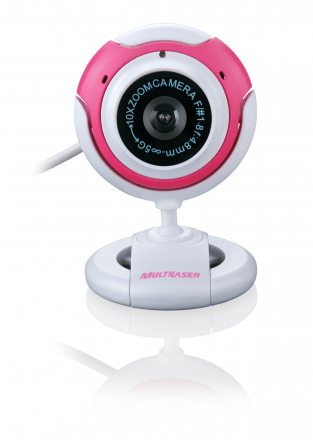 WebCam Multilaser USB WC042 16MP Branca/Rosa