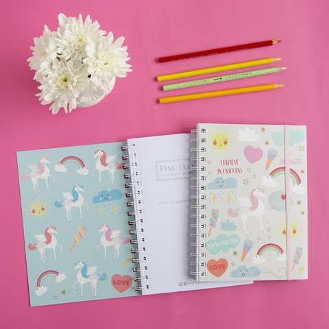 Cuaderno grande love unicorns