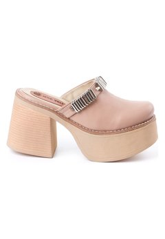 Aria - Zueco de Cuero natural Nude - Rosevelt Shoes