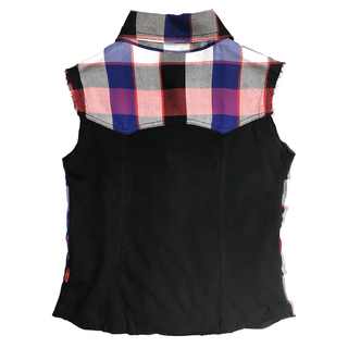 plaid shirt - sleeveless - buttoned on the front with snap fasteners in nikel - cut ends for a very grunge look - back in black cotton