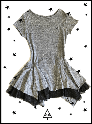grey cotton tutu dress (4 - 5 Y)