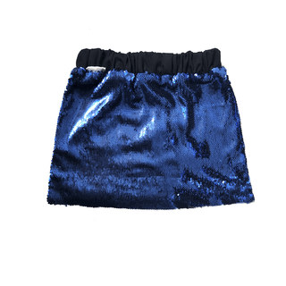 blue paillette short skirt - fully embroidered in blue sequins - elastic waist in black - lined in black cotton