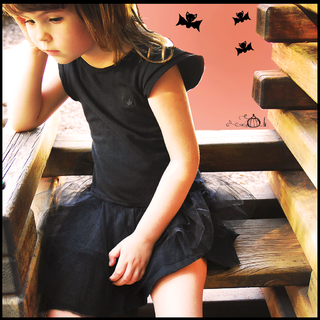 black cotton tutu dress + halloween mask