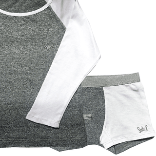 set remera manga larga gris + boxer