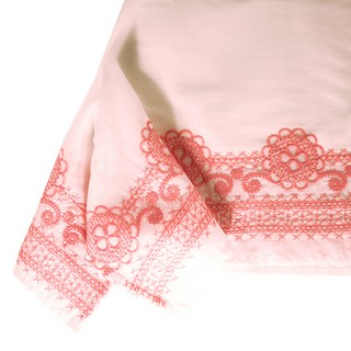 White voile tunic 100% cotton embroidered in old pink color, feminine, chic, fresh.