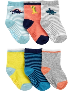 Kit com 6 pares de meias Antiderrapantes (Little Baby) - Carter's