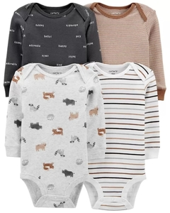 Kit com 4 bodies da Carter's (Manga longa) Animal Print -  Carter's