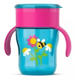 Copo Natural 360° - Rosa com Azul - 260 ml - Philips Avent
