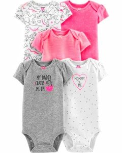 Kit com 5 bodies da Carter's - Mommy + Me