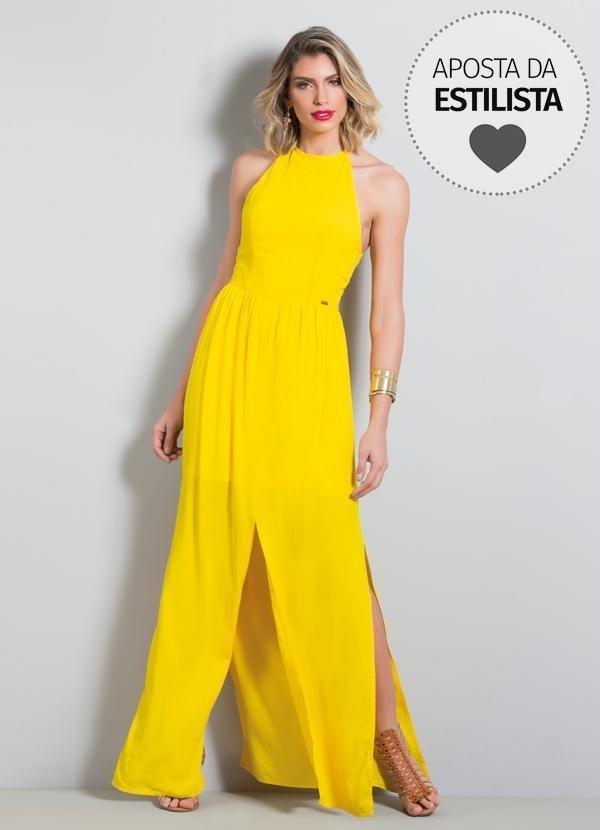 532e28659bd2 Vestido Longo Amarelo Frente Única Com Fenda Quintess