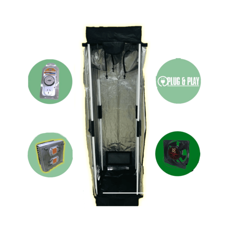 Kit Carpa Cultivo Indoor Led Turbina Polea Completo Chico (Xs)