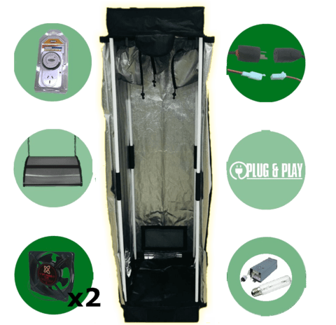 Kit Carpa Cultivo Indoor Sodio Turbina Polea Completo Chico (Xs)