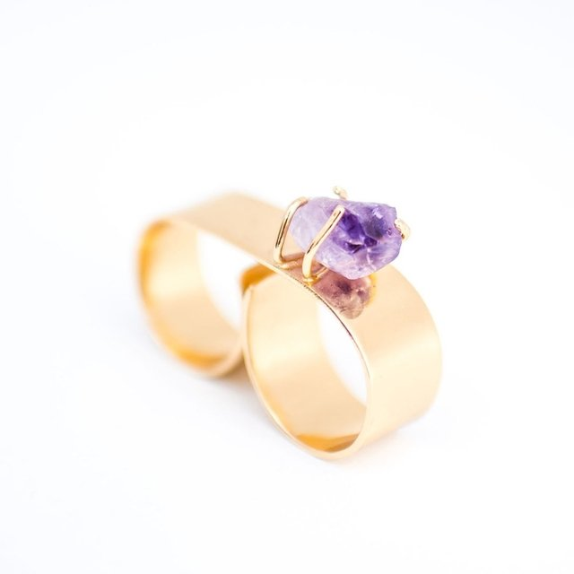 Double Amethyst Gladiator Ring