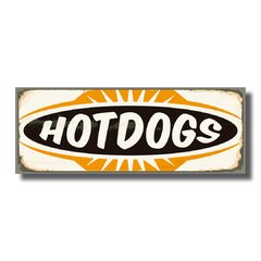 PLACA HOT DOG VINTAGE  40x15 cm