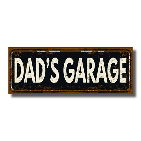 PLACA DAD'S GARAGE 40x15 cm - comprar online