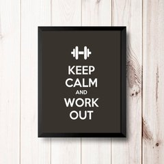 PLACA KEEP CALM AND WORK OUT na internet