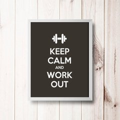 PLACA KEEP CALM AND WORK OUT - comprar online