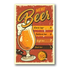 PLACA MENU BEER