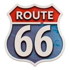 PLACA RECORTE ROUTE 66  36x35 cm