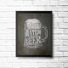 PLACA SAVE WATER BEER - comprar online