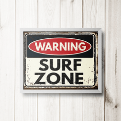 PLACA WARNING SURF ZONE - comprar online